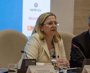 Irene Garrido, presidenta del ICO, durante la apertura del VIII Congreso ECOFIN.