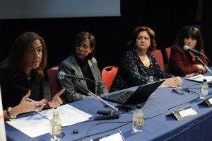 María José Sobrinos, directora de Recursos Humanos de Accenture; Blanca Gómez, directora de Recursos Humanos de Microsoft; María Victoria de Rojas, editora de la publicación Ejecutivos; y Araceli Aranda, CEO de Presence Technology, durante el panel de expertos 'Tecnología: la Mujer en un mundo de Hombres'.