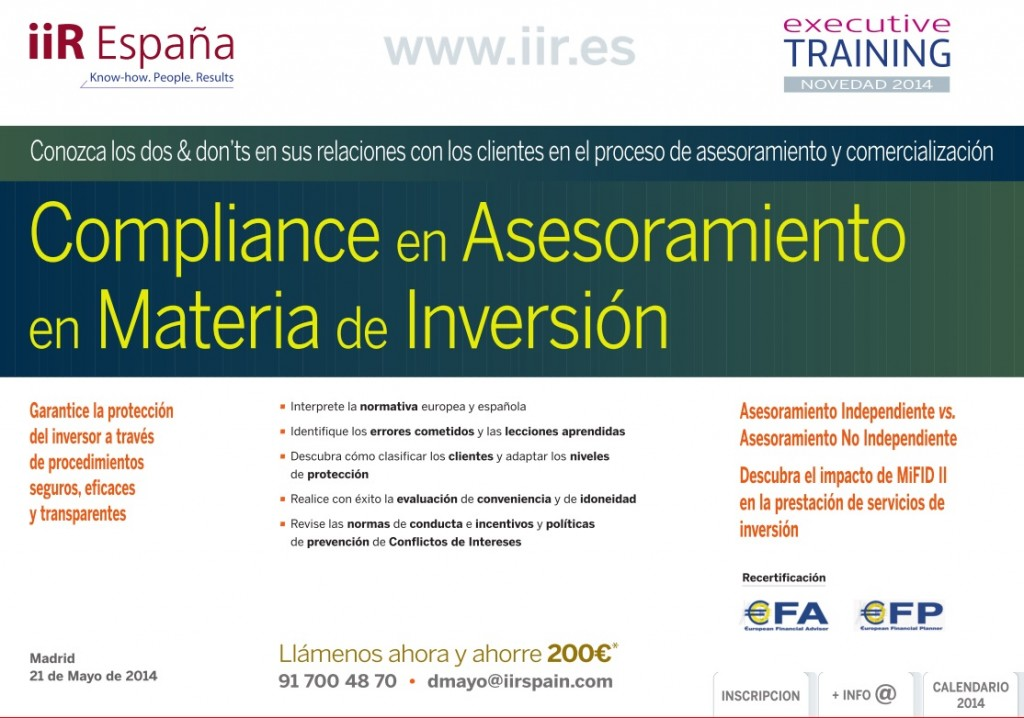 Impacto Training Calendario.Aprende Con Iir Compliance En Asesoramiento En Materia De