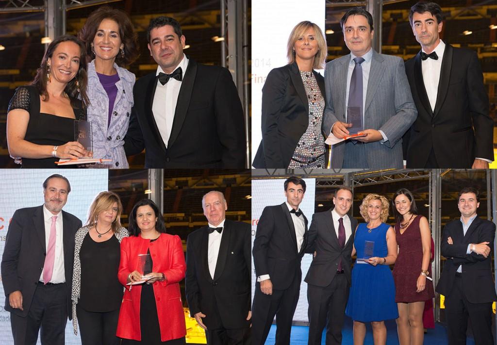 De izquierda a derecha y de arriba a abajo: Transcom recibió el Premio a la Gestión de la Calidad; Cetelem fue el mejor CRC en el sector Servicios Financieros; José Luis Goytre, presidente de AEERC, entregó el premio especial Discatel de RSC a Alares; y por último, Arvato fue en 2014 el mejor 'outsourcer' en Recobro con su cliente Vodafone.