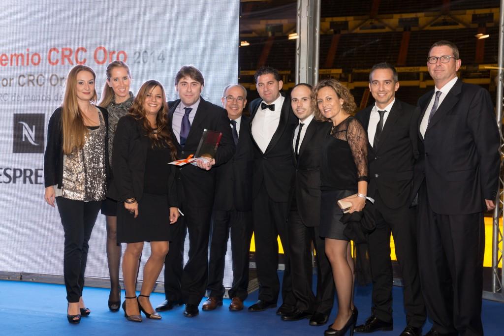 El equipo de Nespresso subió dos veces al escenario de los Premios a la Excelencia en la Atención CRC Oro 2014.