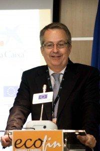 Javier Fernández Aguado durante su intervención en el Congreso ECOFIN.