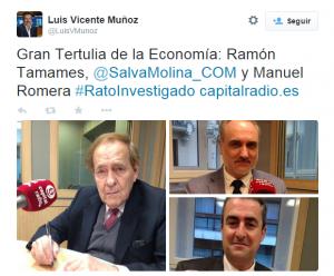 Ramón Tamames, Salvador Molina y Manuel Romera en 'La Gran Tertulia de la Economía'.