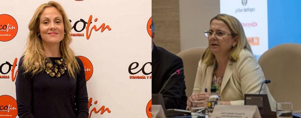 Emma Navarro, secretaria del Tesoro, e Irene Garrido, secretaria de Estado de Economía, en los Premios y el Congreso ECOFIN.