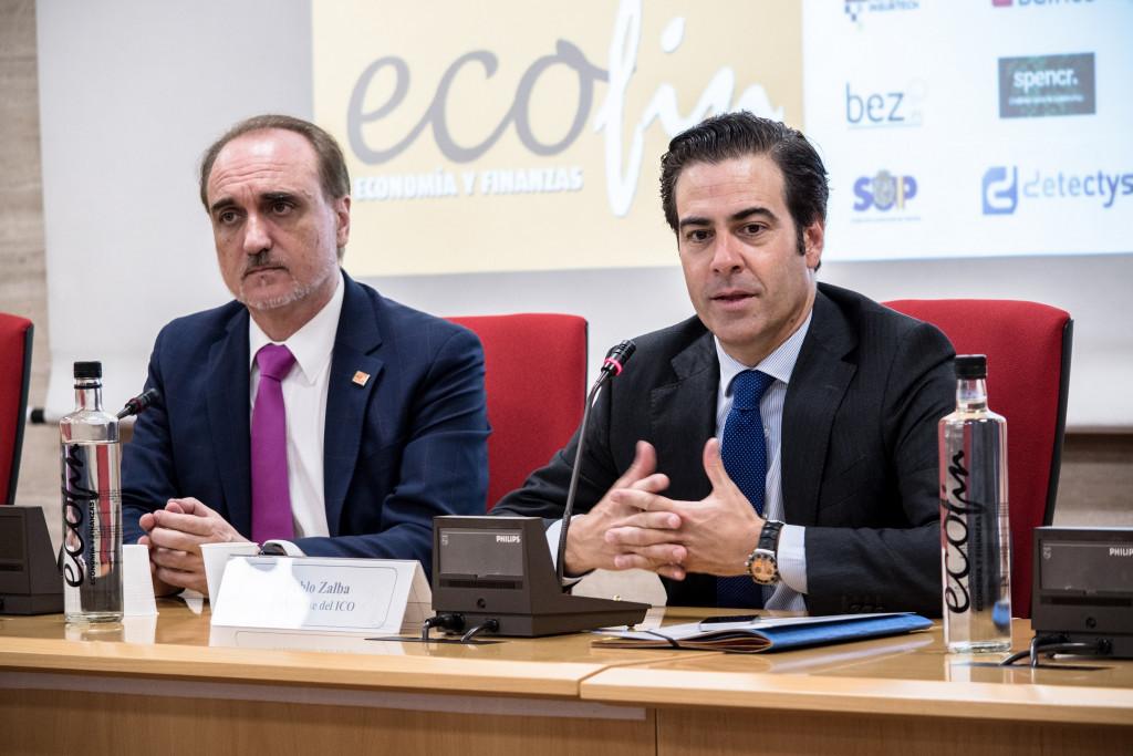Salvador Molina, presidente de Foro ECOFIN, y Pablo Zalba, presidente del ICO, durante la inauguración del X Congreso ECOFIN.