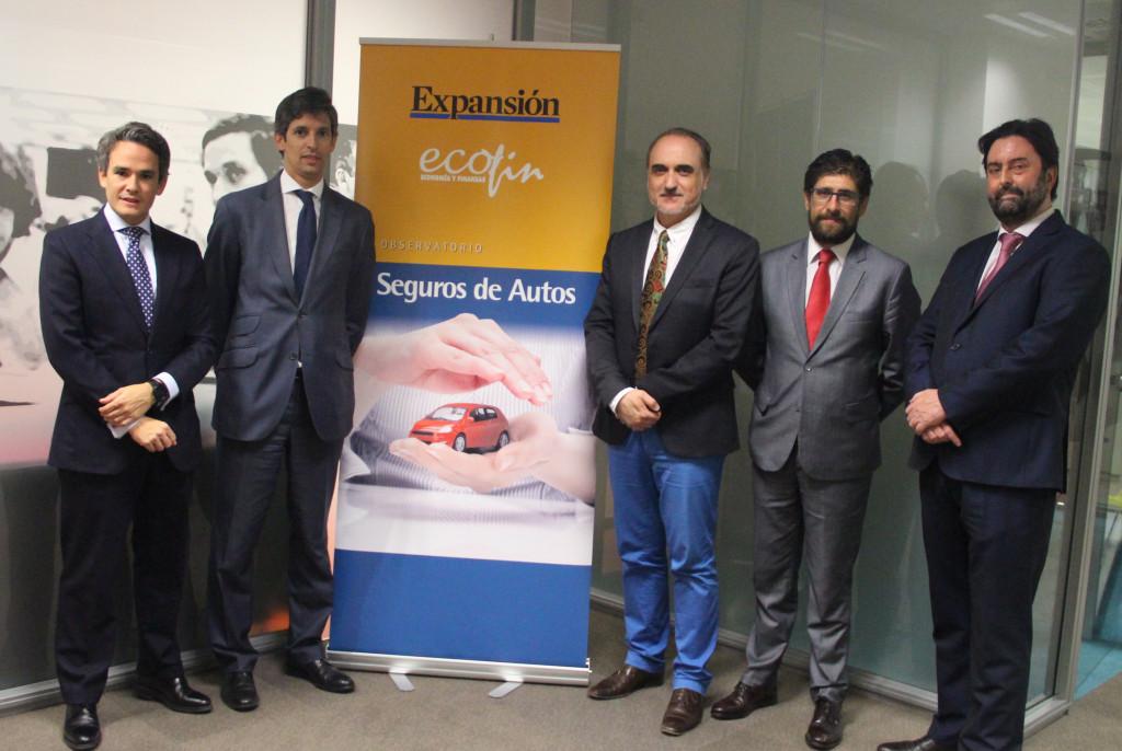 Jaime Aguirre de Mutua Madrileña, Jorge Fernández de Generali, Salvador Molina de Foro ECOFIN, Ramón González de Mapfre España, y Rafa Sierra de ADN del Seguro.