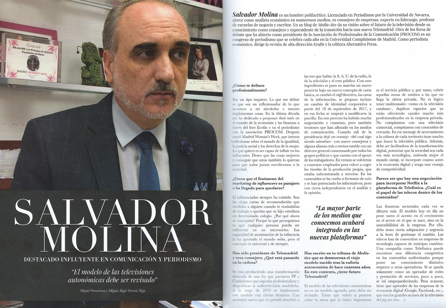 Salvador Molina en Influencers (marzo 2018)