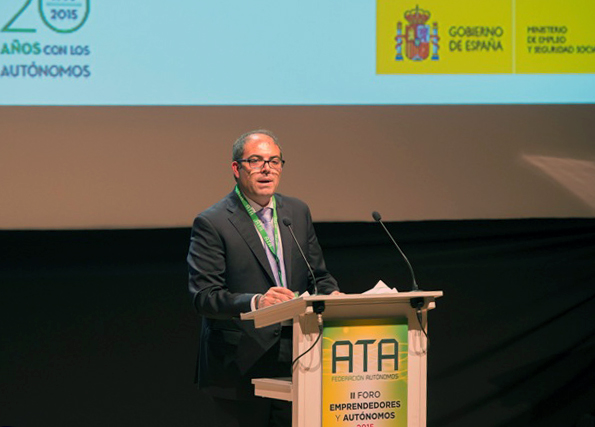 Lorenzo Amor, presidente de ATA, durante el II Foro Emprendedores y Autónomos.