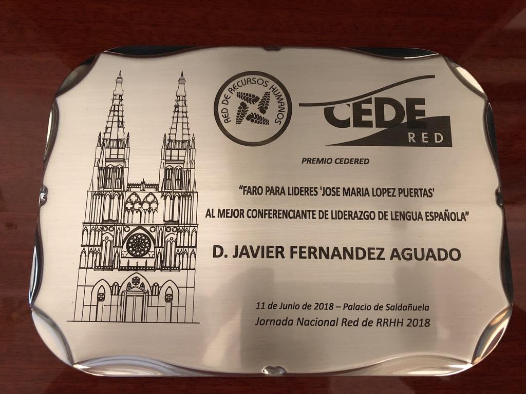 Premio Faro para lideres 'Jose María Lopez Puertas' al mejor conferenciante de liderazgo de lengua española.