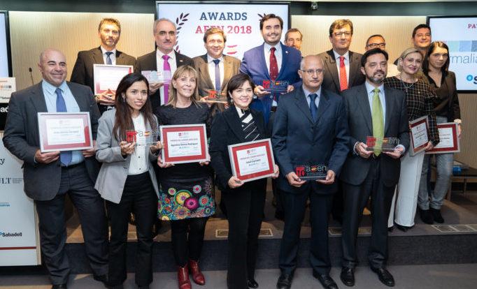 Foto de grupo de los ganadores de los Premios AEEN 2018.