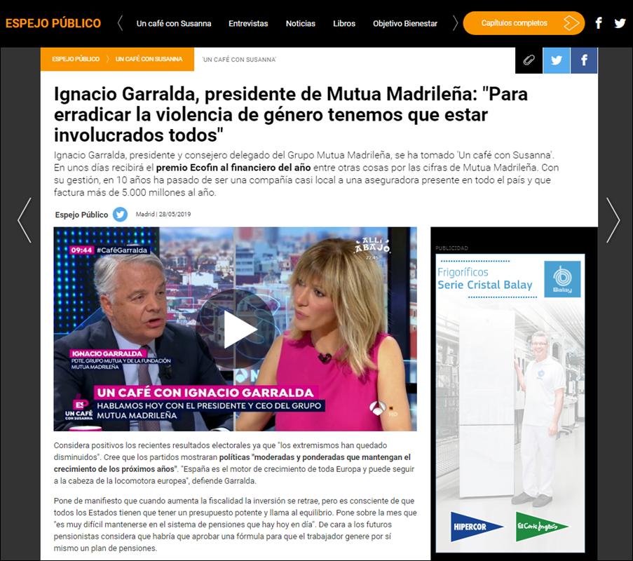 El programa Espejo Público de Antena 3, con Ignacio Garralda (Mutua) como invitado, en la web de la cadena.
